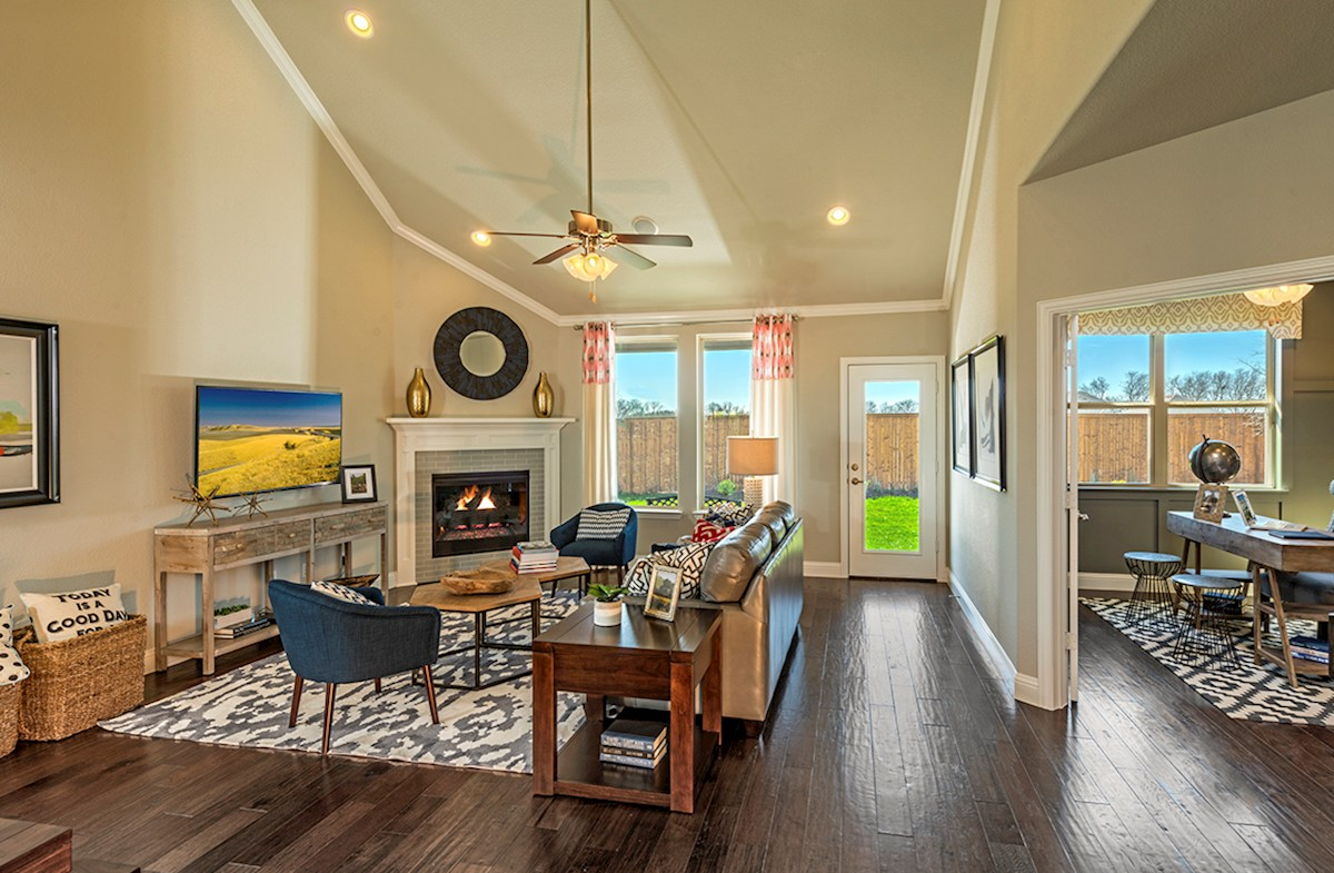 Prescott great room with soaring ceilings