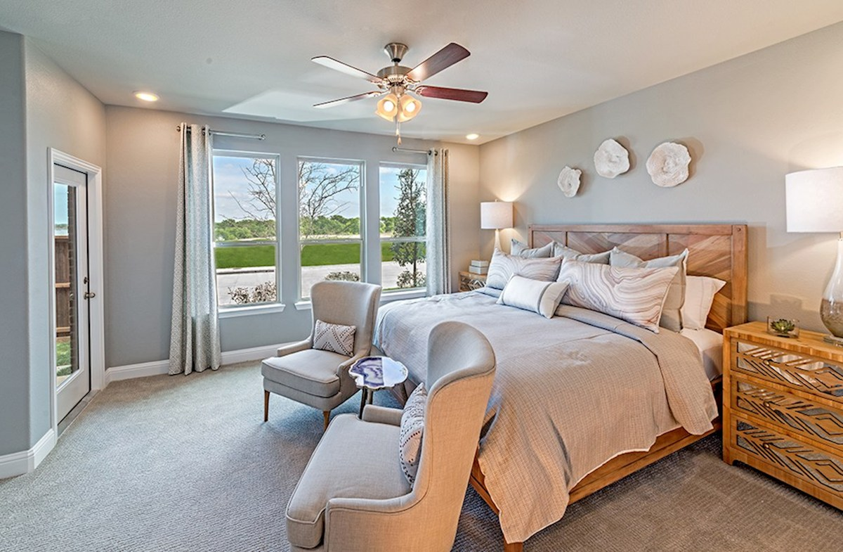The Grove at Craig Ranch Brazos Brazos master bedroom with ceiling fan