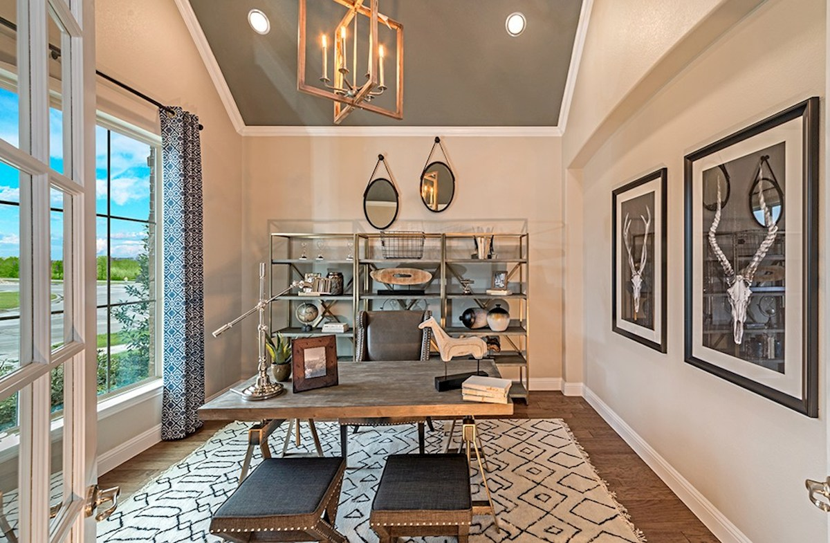 Glen View Brighton study with wood flooring and French doors