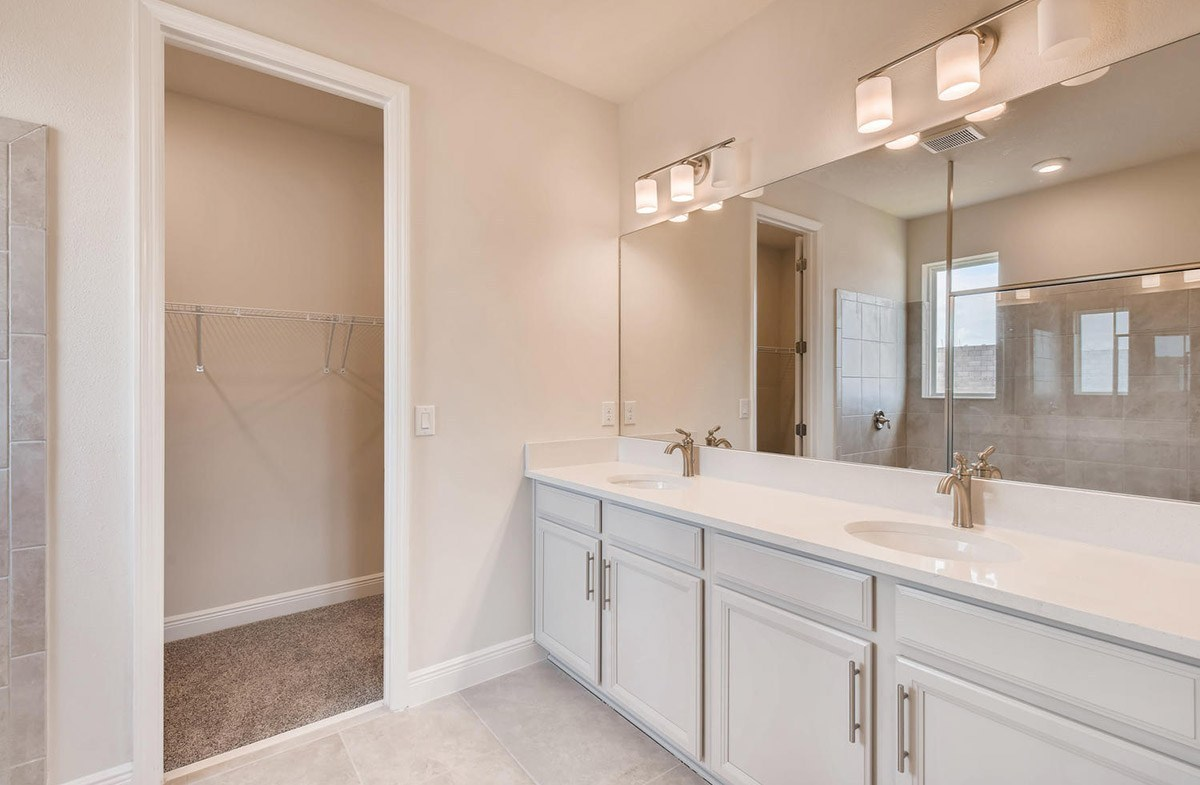 Bayview quick move-in Master bathroom with dual sink vanity