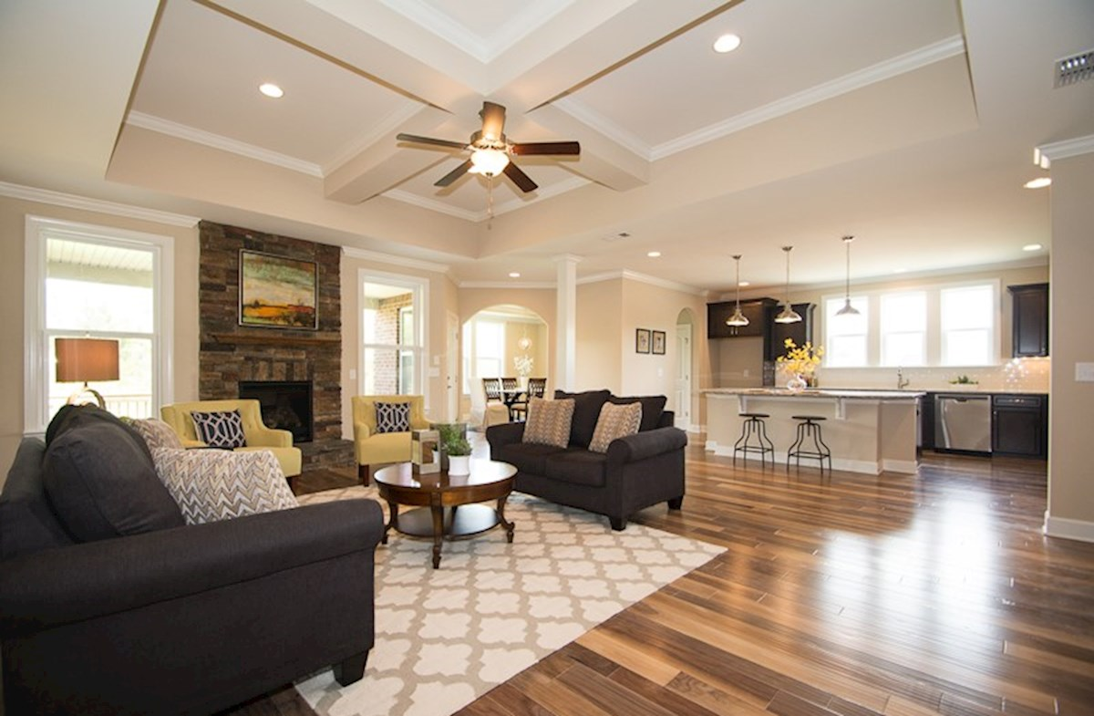 great room with tray ceilings