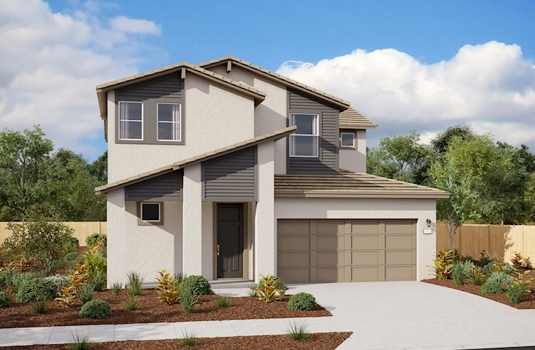 rendering of two-story home with two-car garage