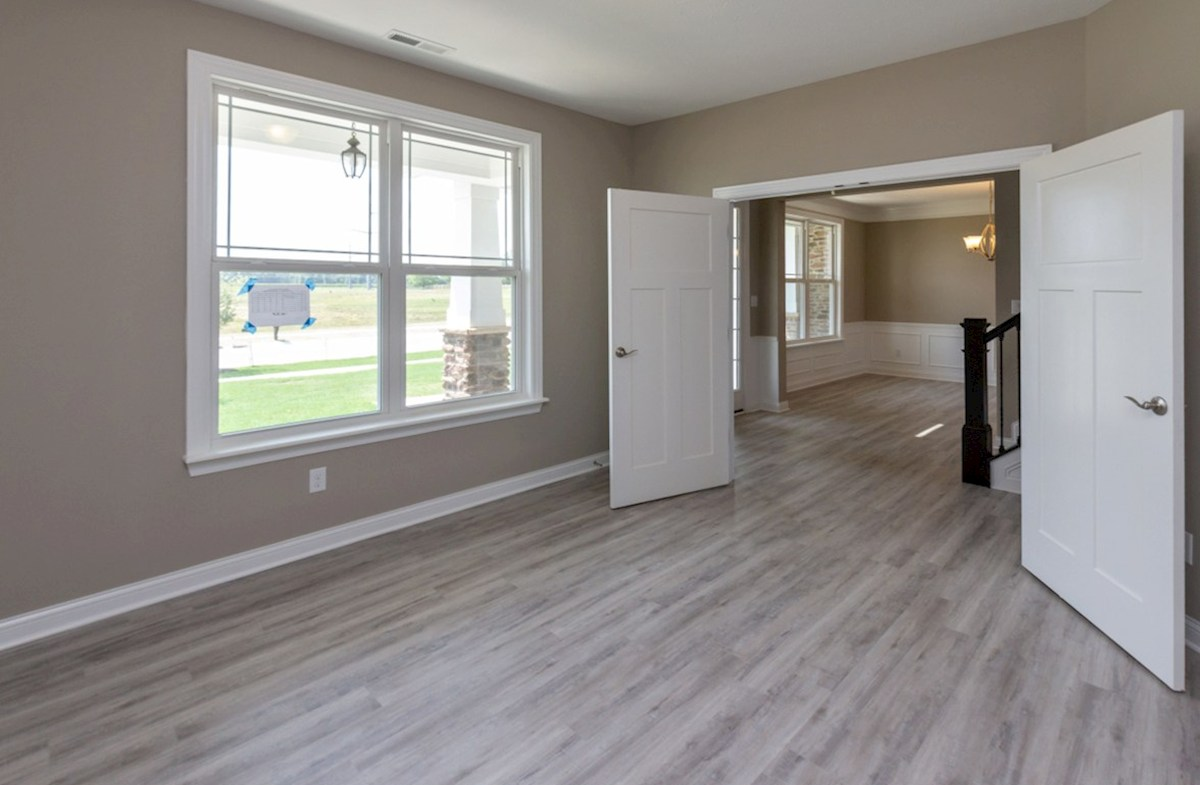 Tarkington quick move-in Study with hardwood floors