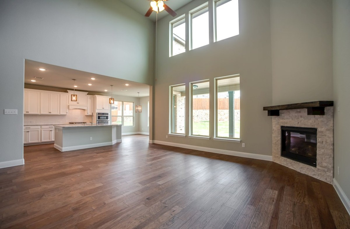 Trinity quick move-in great room with fireplace and soaring ceilings