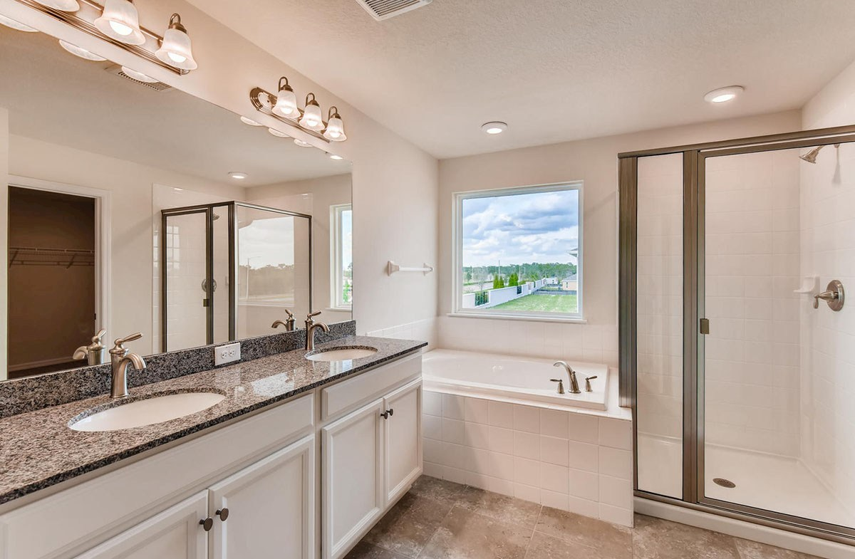 Cypress Pointe quick move-in Master bathroom with garden tub and glass enclosed shower