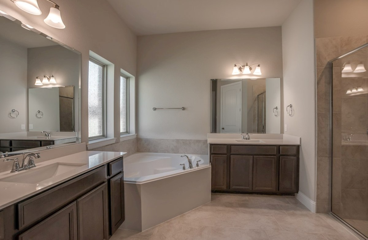 Glen View Beaumont Beaumont master bathroom with separate tub and shower