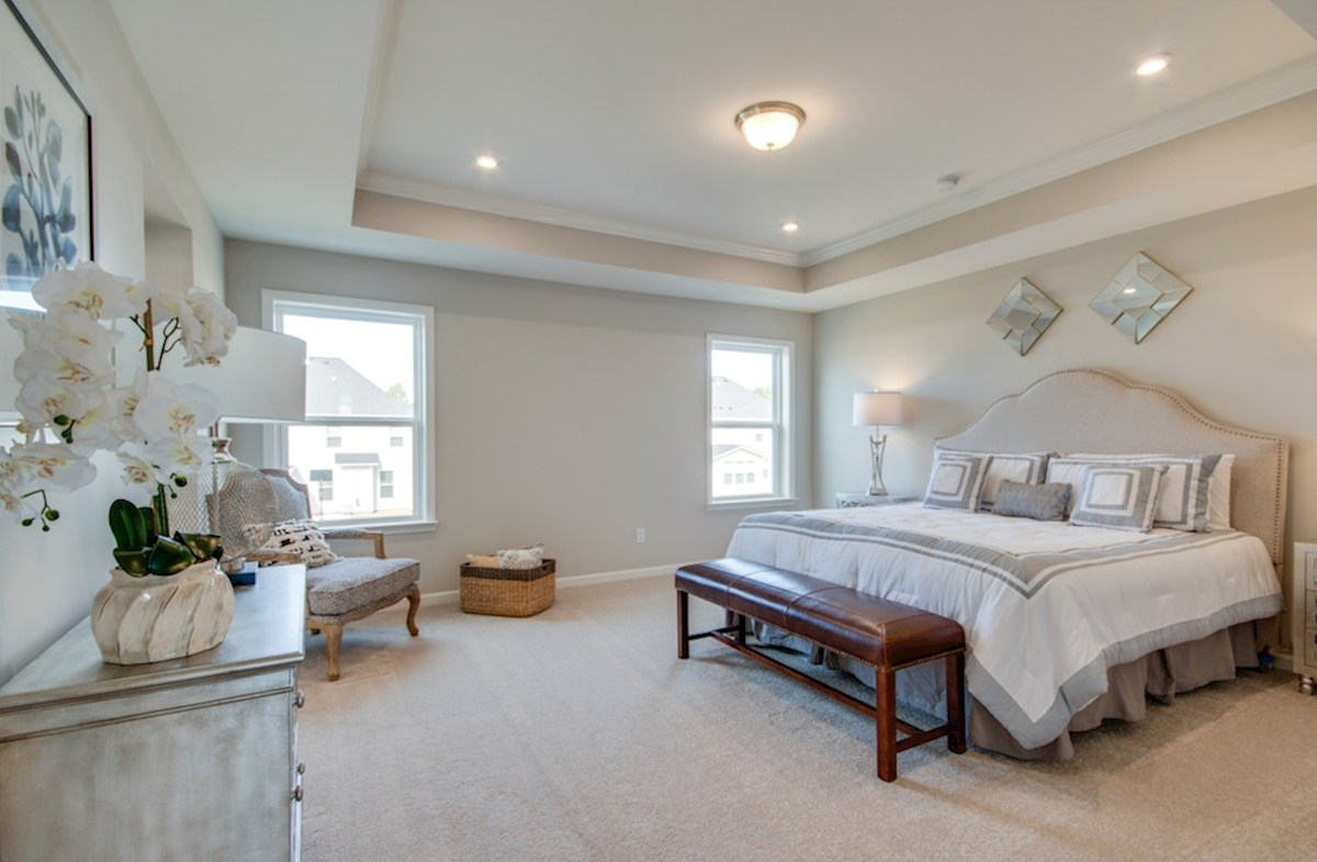 Nichols Vale Ashford spacious master bedroom with trey ceiling