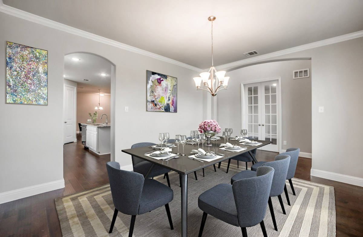 Stoney Creek Riverdale formal dining features wood flooring