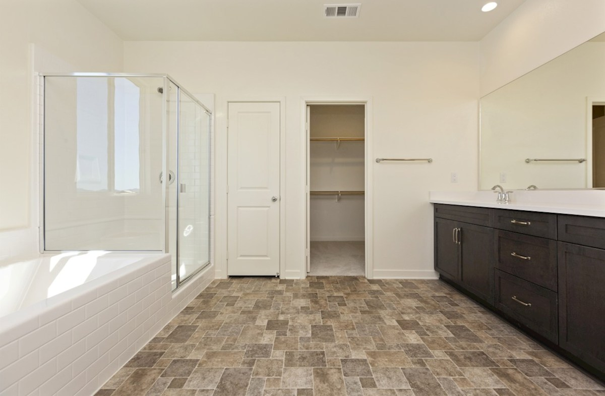 Reserve quick move-in Located in the owner's suite, the deluxe master bath features separate vanities, a spacious walk-in closet, and a spa-inspired soaking tub.