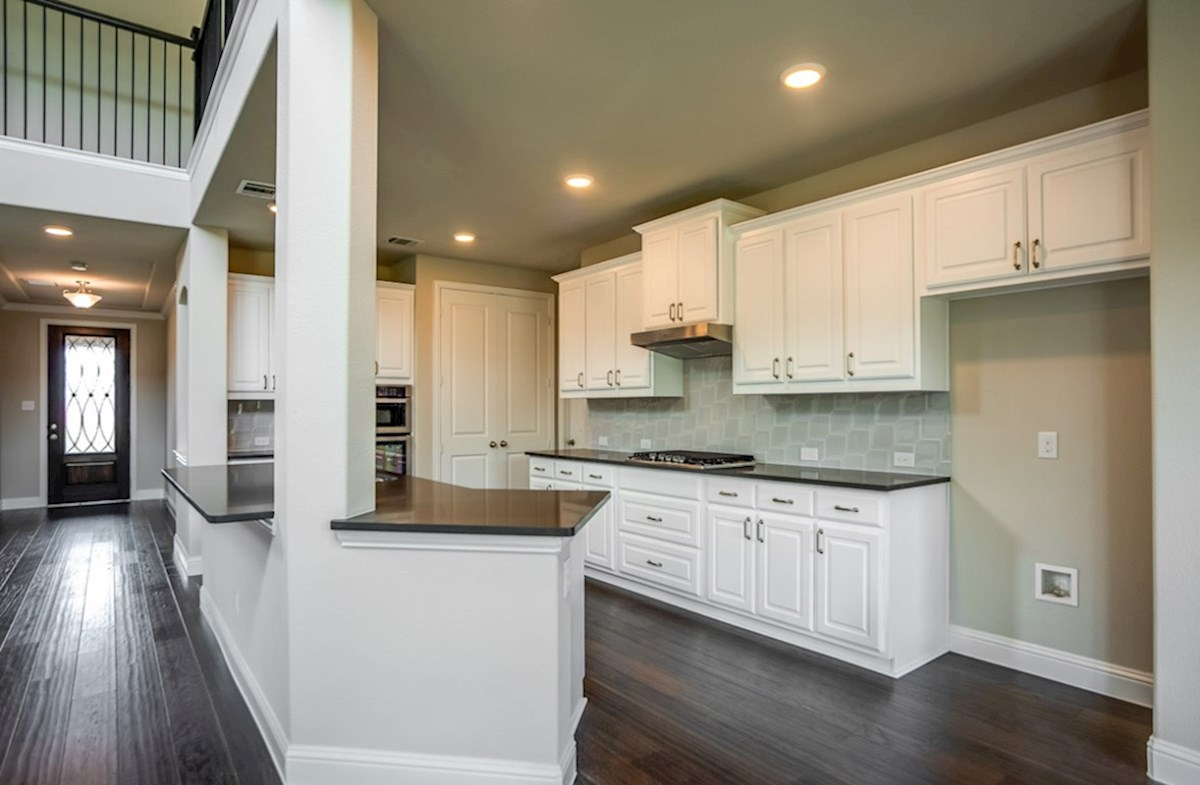 Brookhaven quick move-in open kitchen white cabinets with hardware