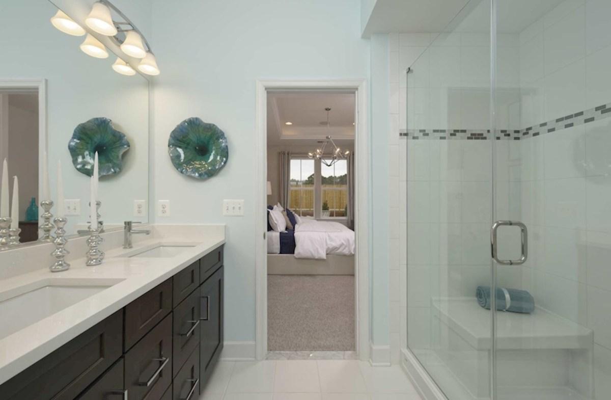 Heron's Ridge at Bayside Bethany Bethany master bathroom featuring dual vanities