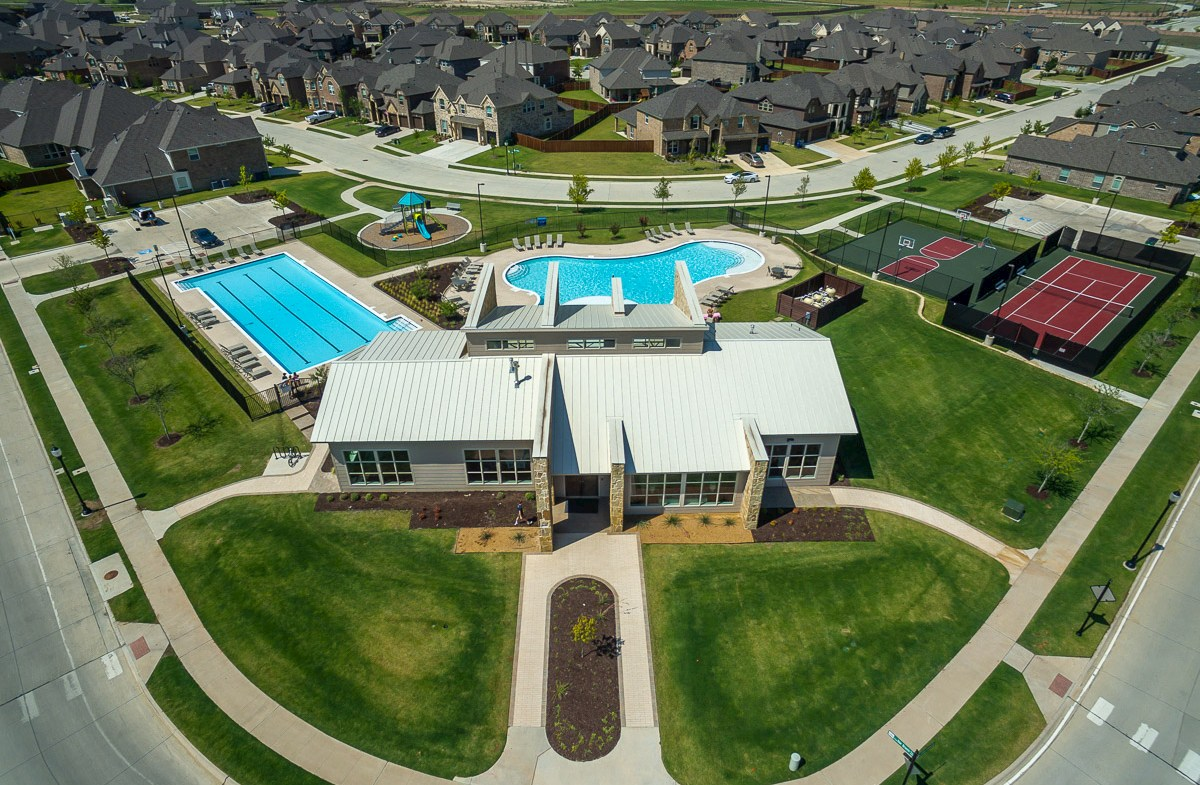 aerial photo of amenity center and community pools