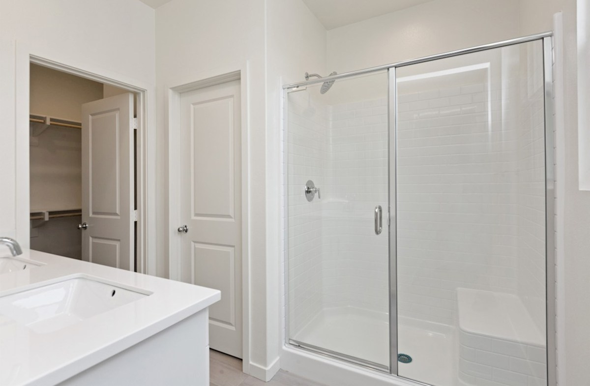 Foxtail quick move-in master bathroom with spacious walk-in shower