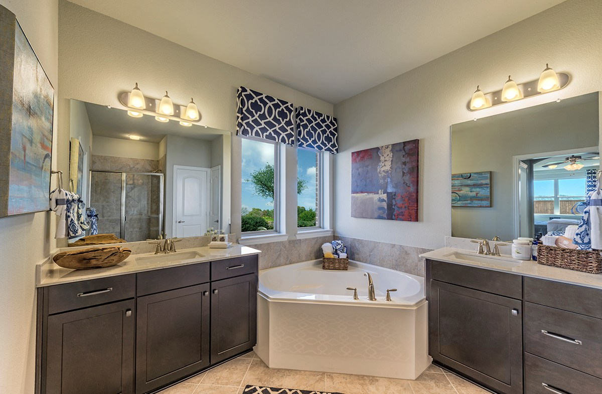 Prescott master bath features corner tub