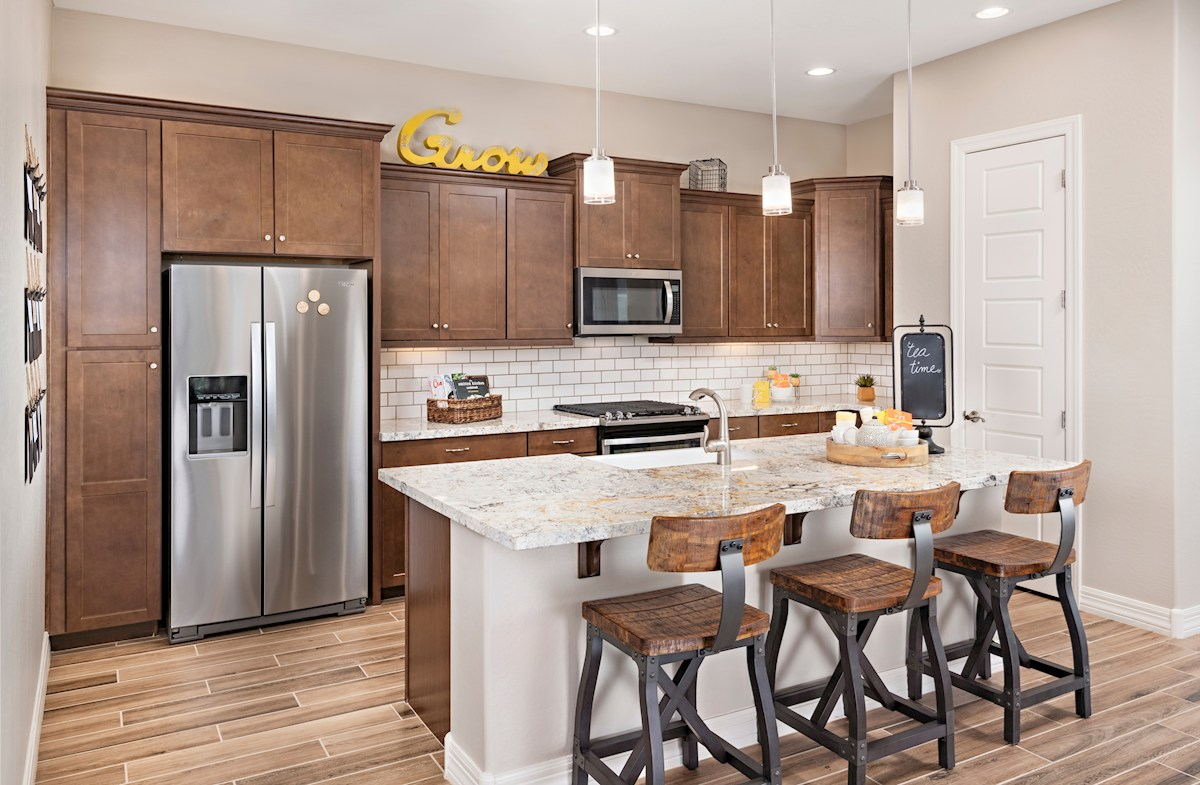 Camelback kitchen with granite countertops