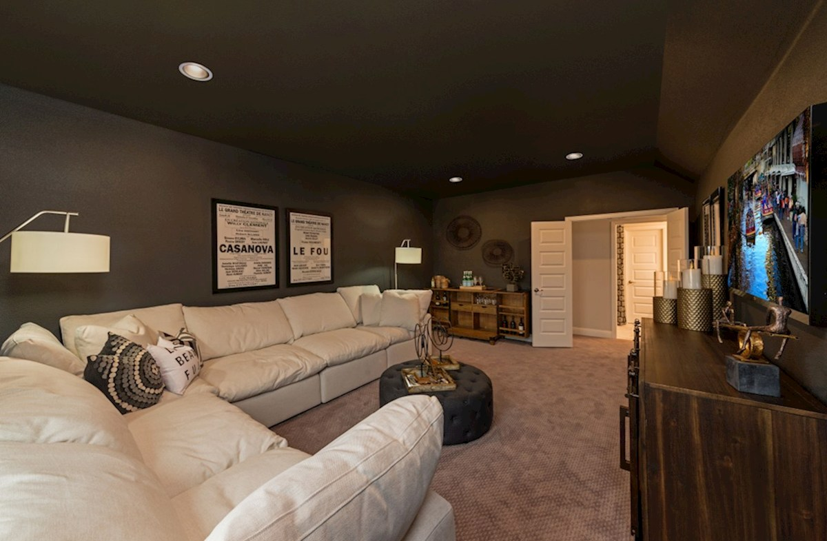 Lakewood Hills Blackburn large media room with carpet