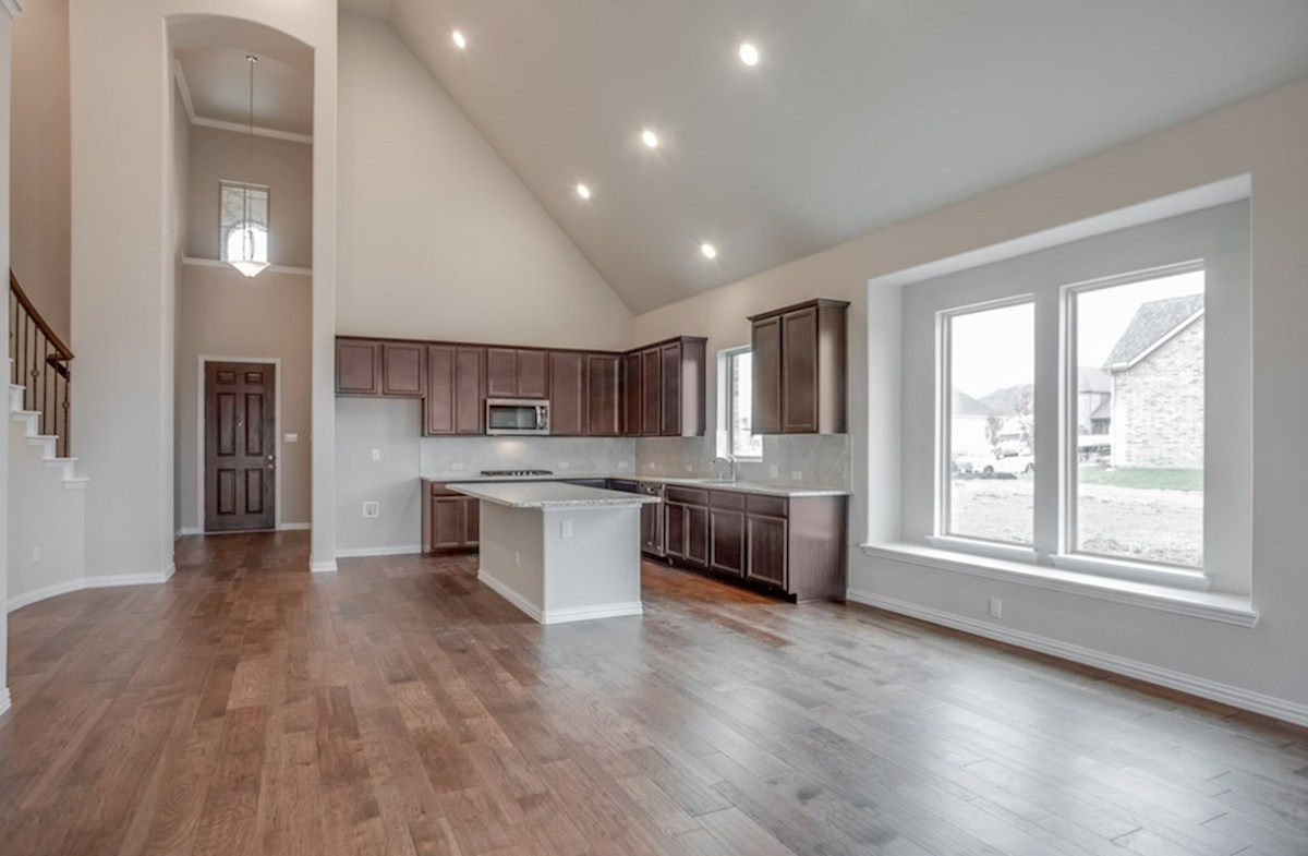 Brighton quick move-in kitchen and great room with tall ceilings