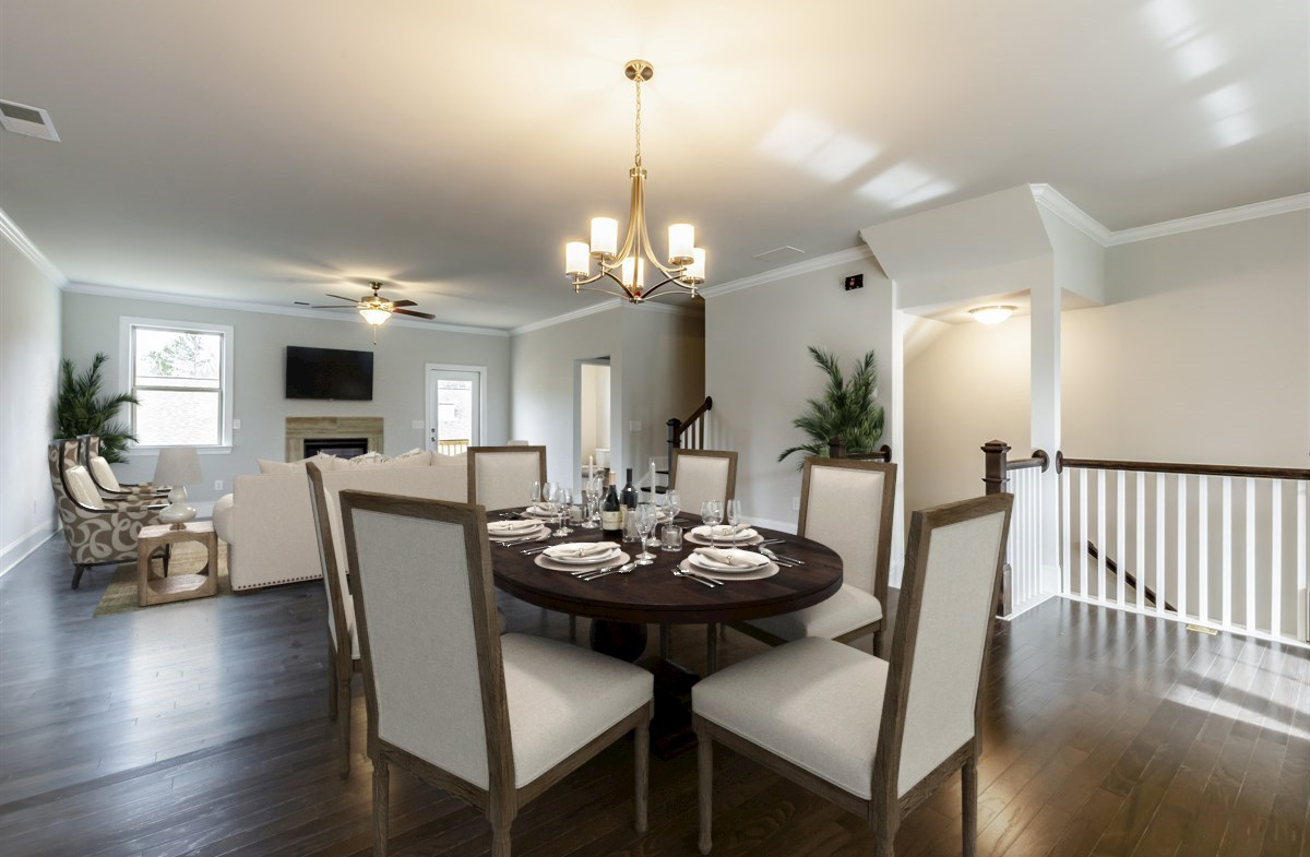 Dining and Family Room with hardwood floors
