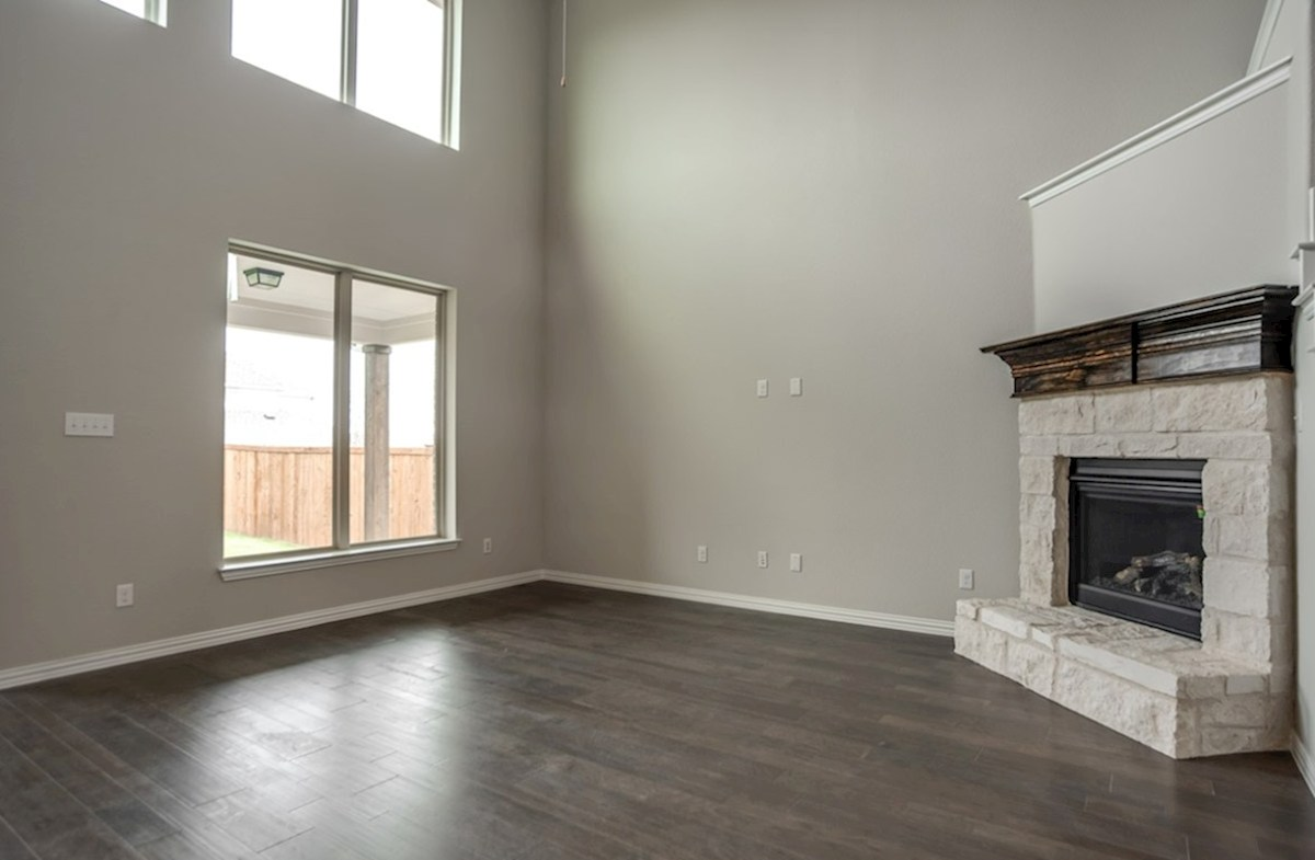Brookhaven quick move-in great room with high ceilings and windows