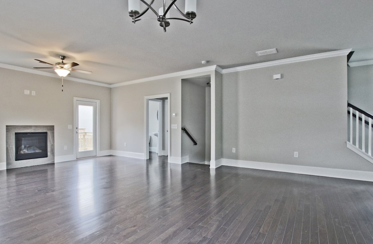 Preston quick move-in Family room with fireplace