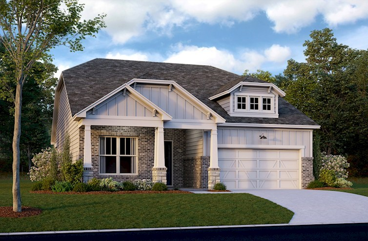 Ranch style home with two-door garage