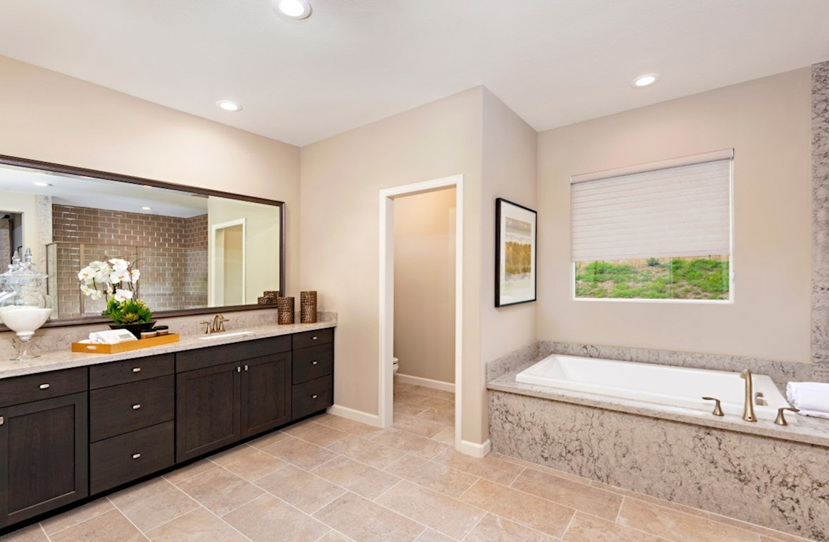 Aurora Heights Torrey Spa-inspired luxury abounds in the deluxe master bath, complete with separate shower and soaking tub