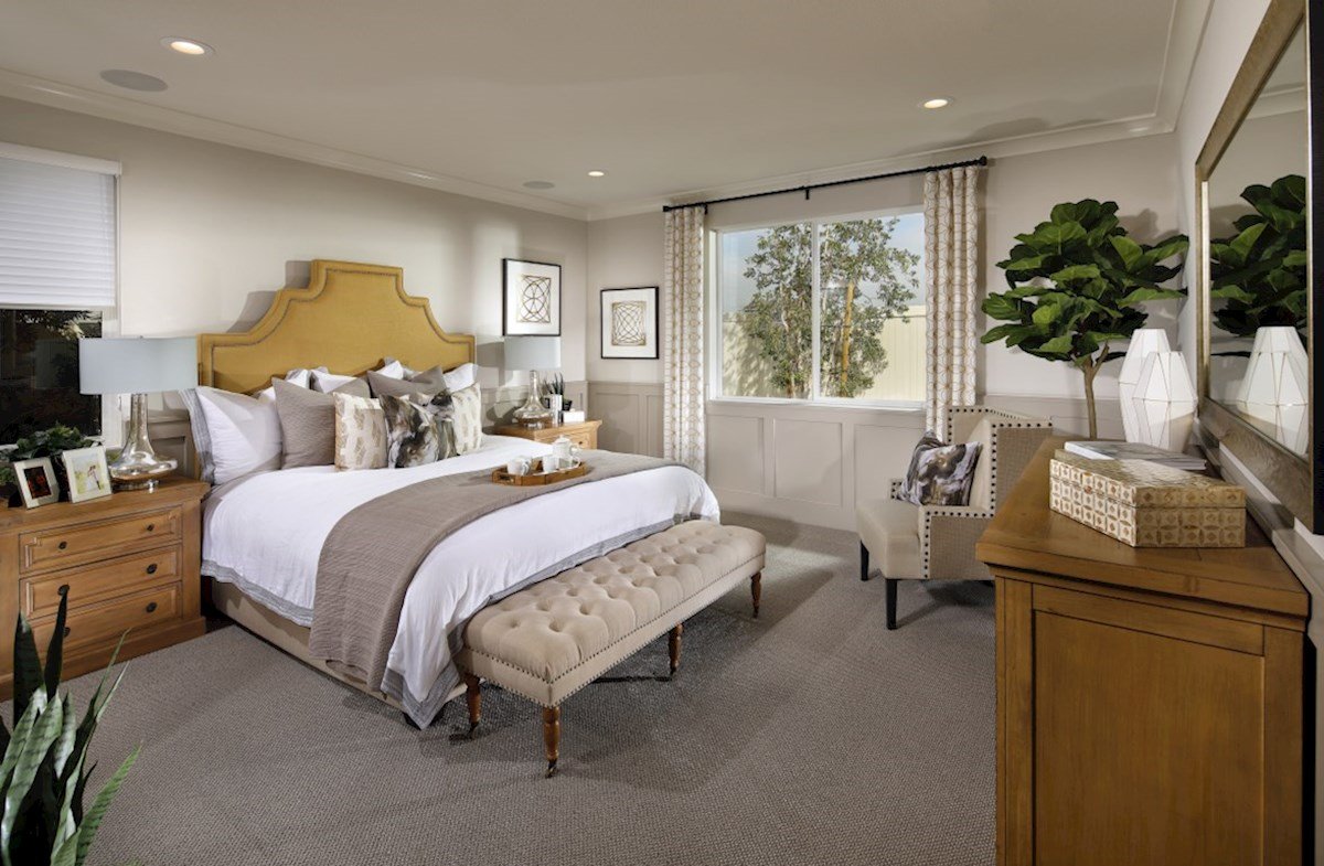 The Glen at Summerly Piedmont Master bedroom separated from secondary bedrooms to create privacy and reduce noise.