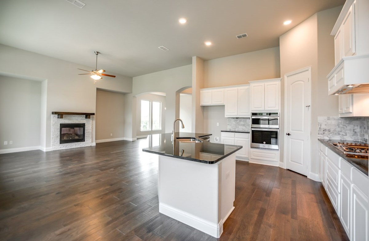 Bandera quick move-in wood flooring throughout kitchen and great room
