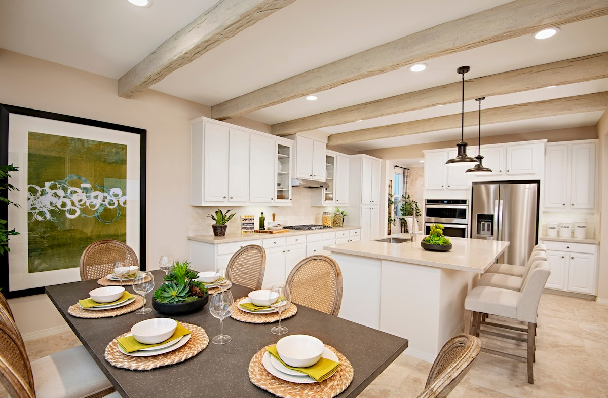 bright dining room and kitchen