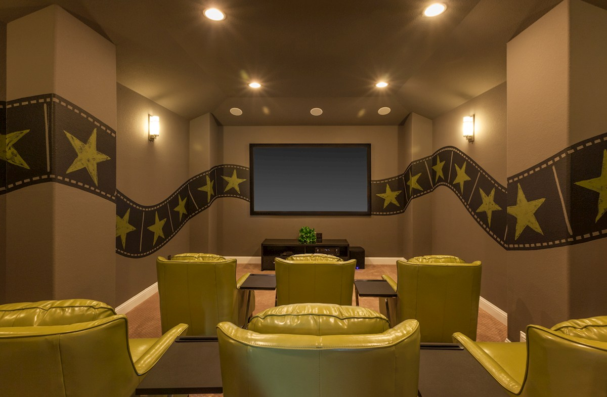 Young Ranch McArthur media room with sconce lighting