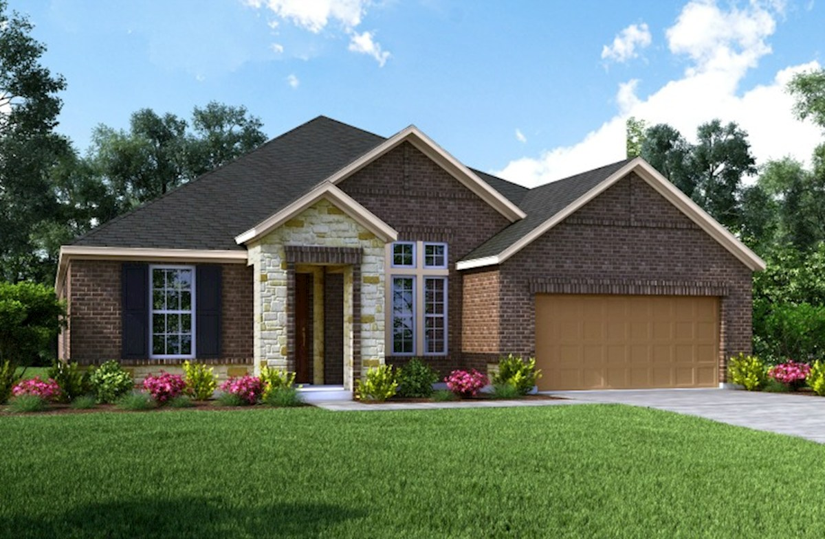 Fredericksburg Home Plan In Bluewater Lakes, Manvel, TX