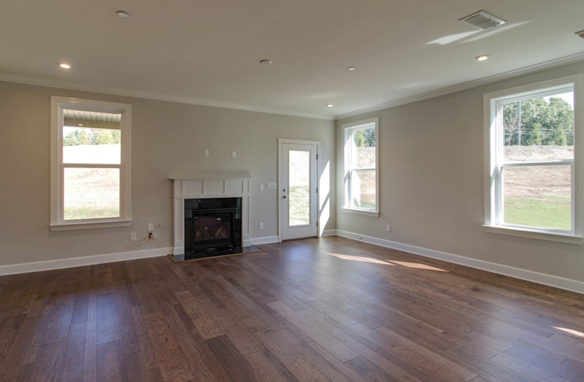 Dogwood quick move-in great room with fireplace and hardwood floors