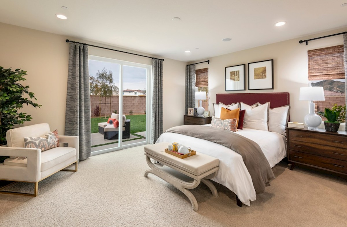 The Glen at Summerly Napa Master bedroom separated from secondary bedrooms to create privacy and reduce noise