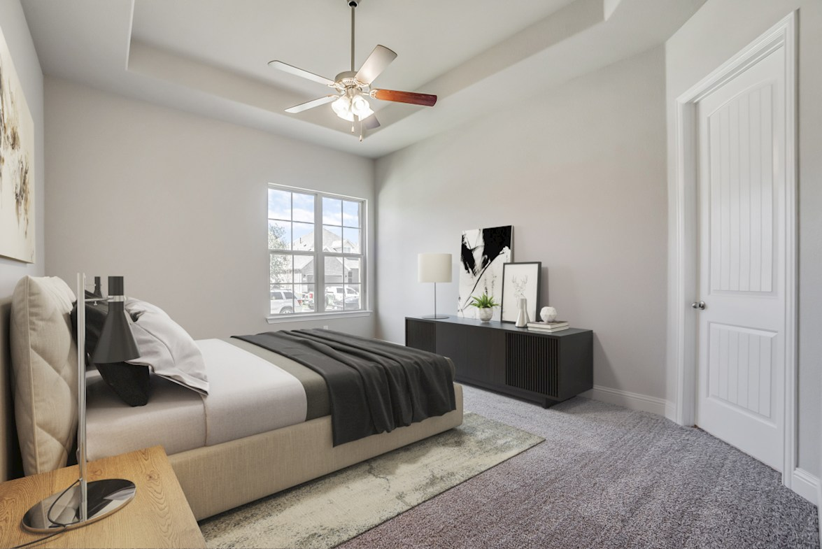 Glen View Beaumont Beamont master bedroom with tray ceiling