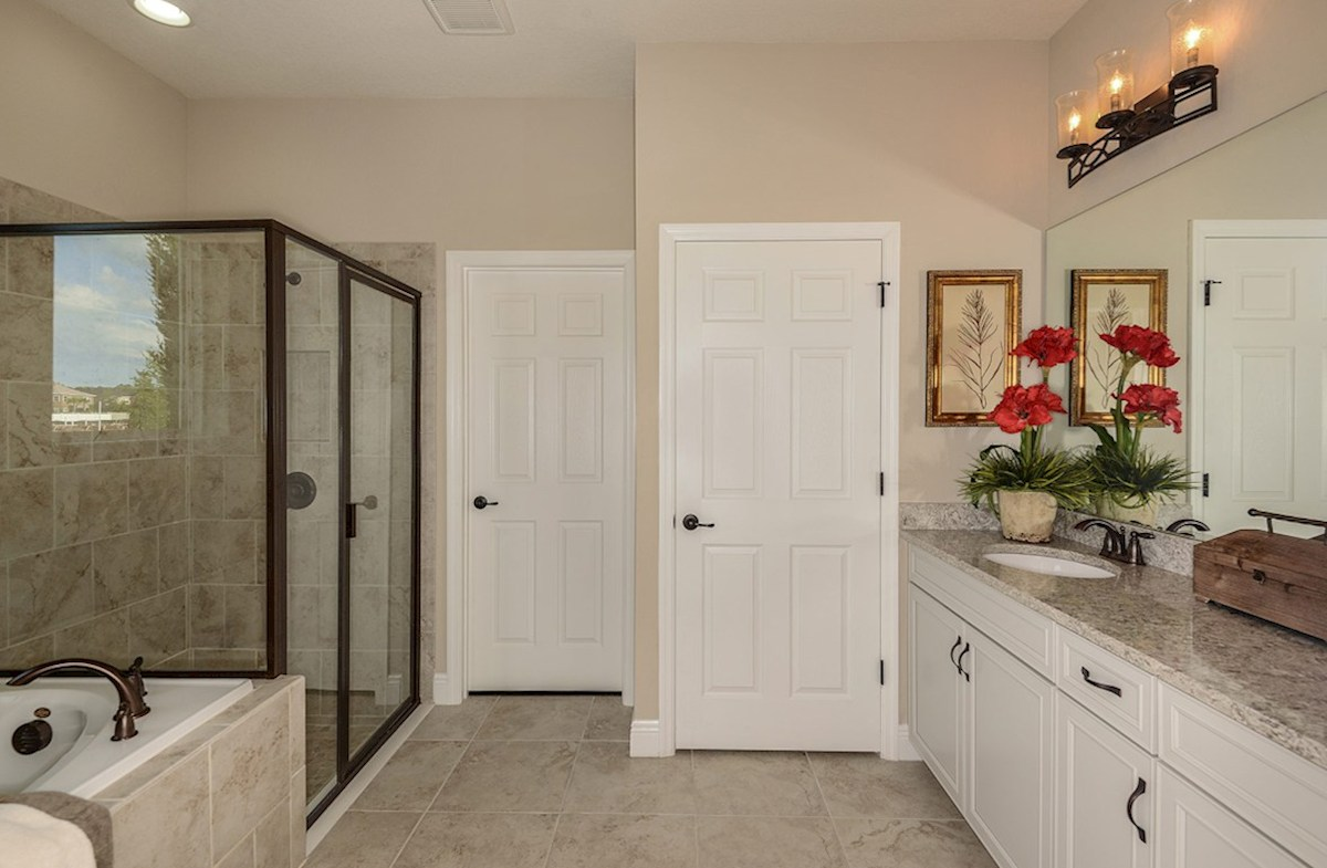 Avalon Park West Sea Breeze Master bath with glass enclosed shower, garden tub and dual vanity