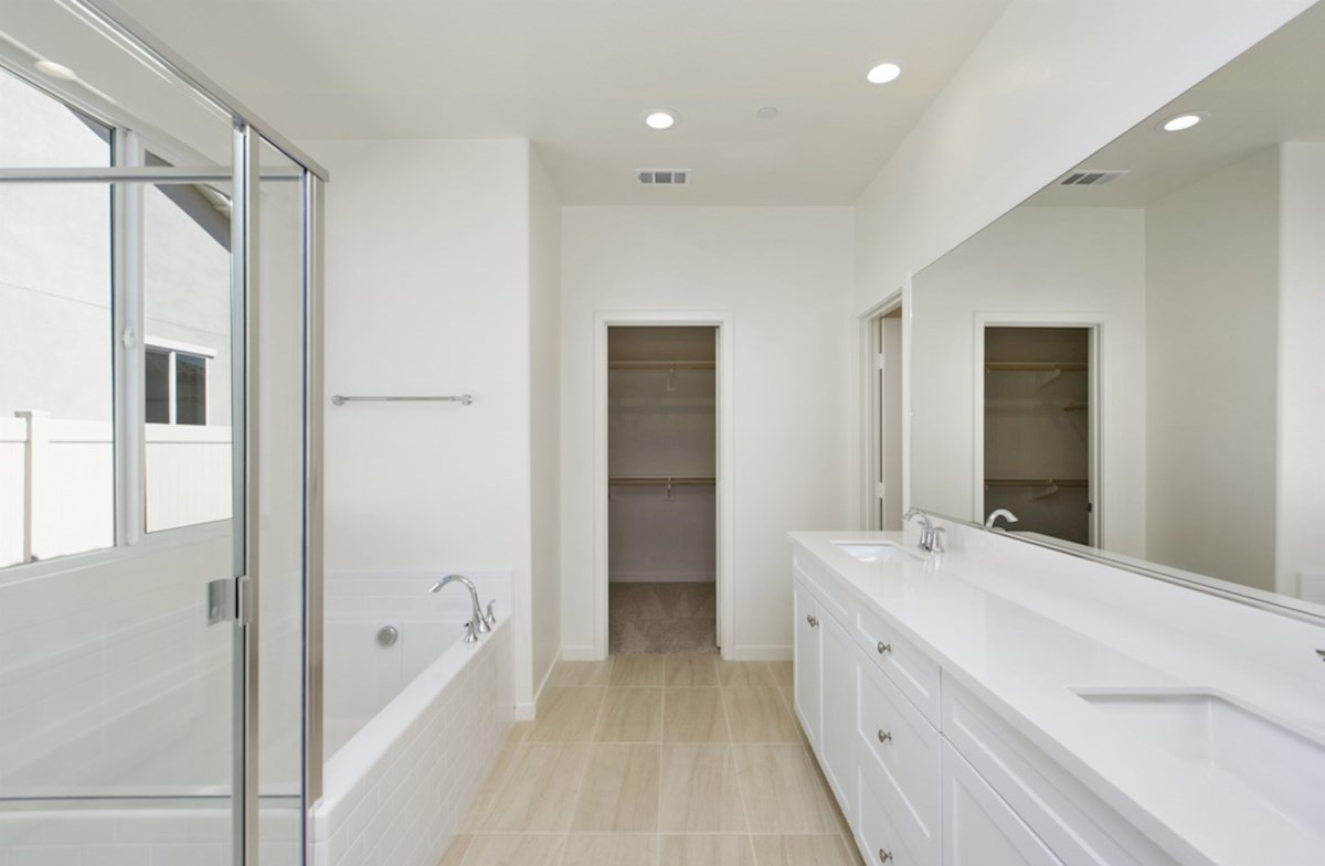 Napa quick move-in Spa-inspired luxury abounds in the deluxe master bath, complete with separate shower and soaking tub