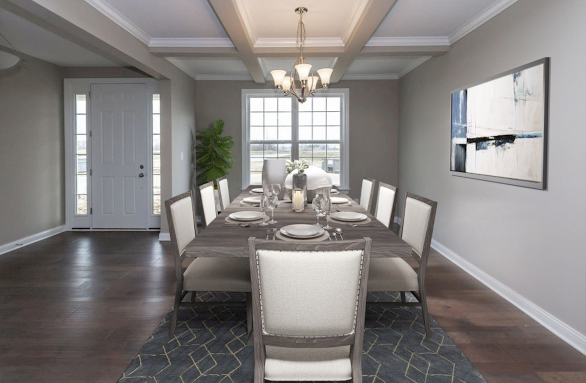 Oakhill quick move-in Formal dining room with coffered ceilings