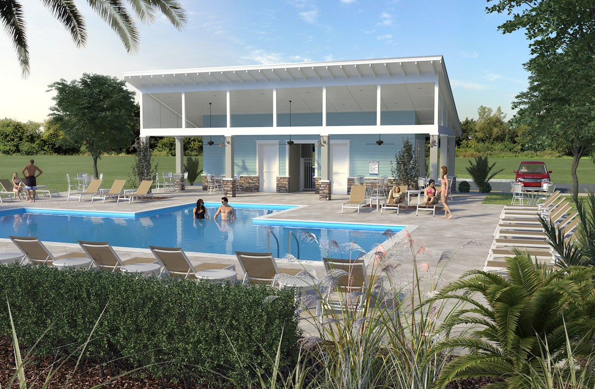 Community Pool with Cabana Rendering