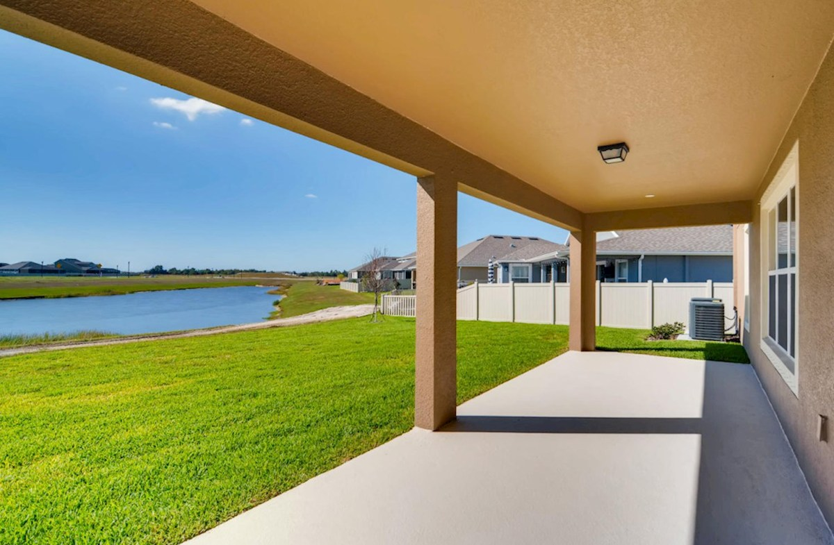 Sequoia quick move-in Extended lanai with pond views