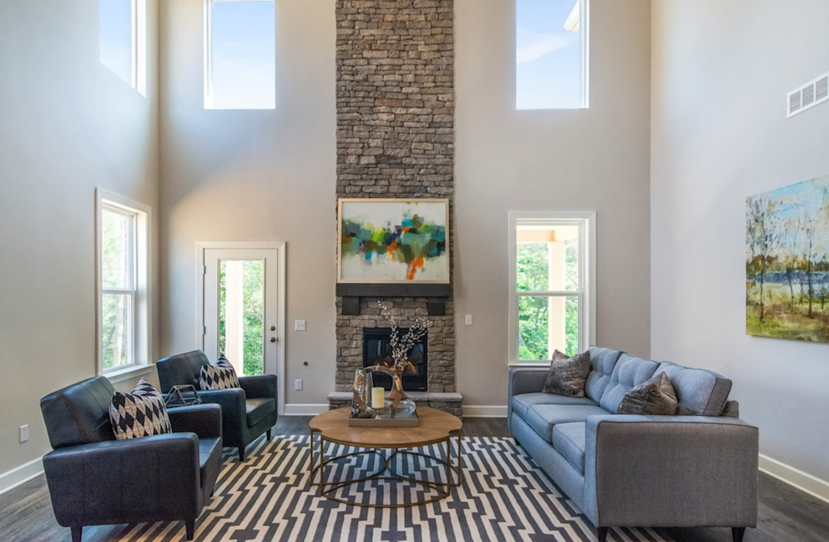 Hillwood Dogwood two story great room with stone fireplace
