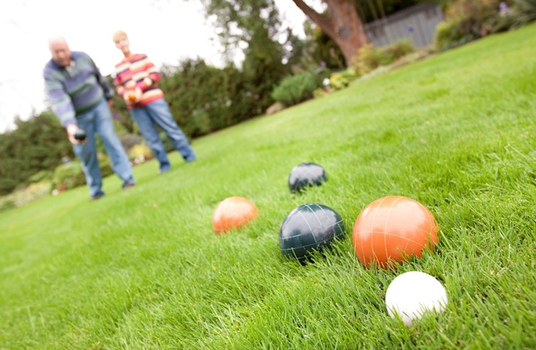 bocce ball court with people playing