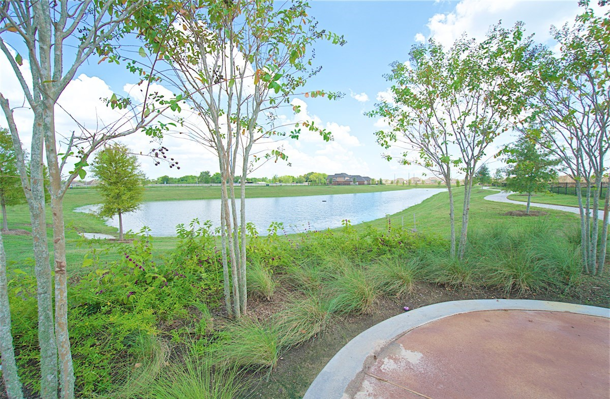 peaceful community lake and lush green space