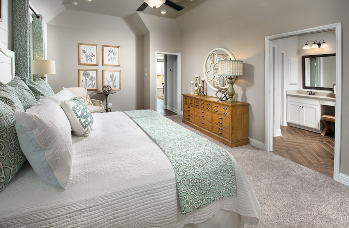 The Woodlands: May Valley Capri master bedroom with tray ceilings