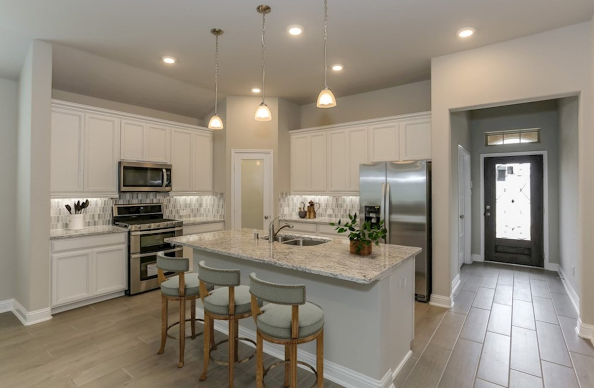 Lantana Berkshire kitchen with granite countertops and designer cabinets