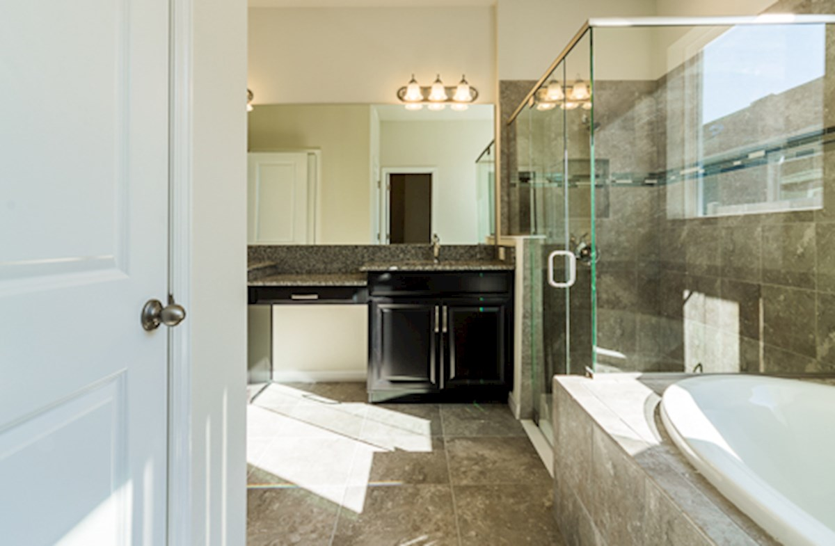 St Augustine II quick move-in Master bath has glass shower and garden tub