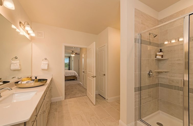 Gatherings® at Westview Clifton master bathroom with double sinks and stand up shower