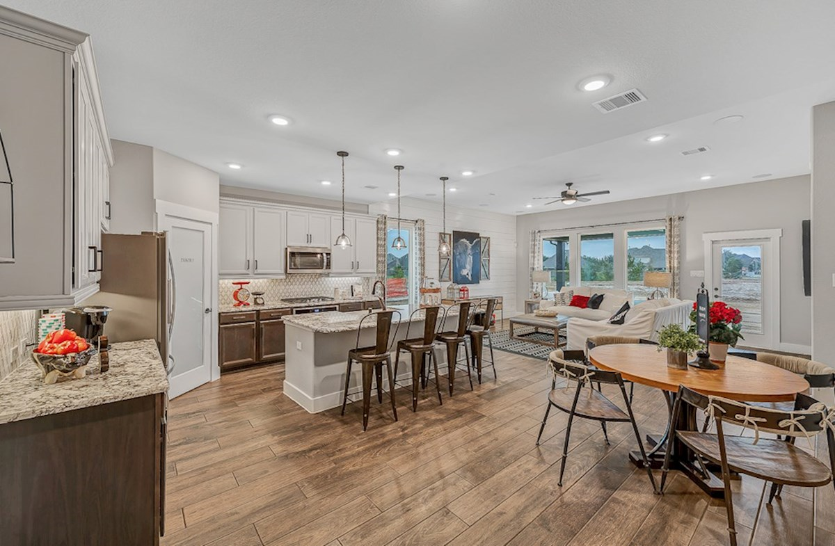 Bridgeland: Harmony Grove Messina open-concept kitchen and casual dining area