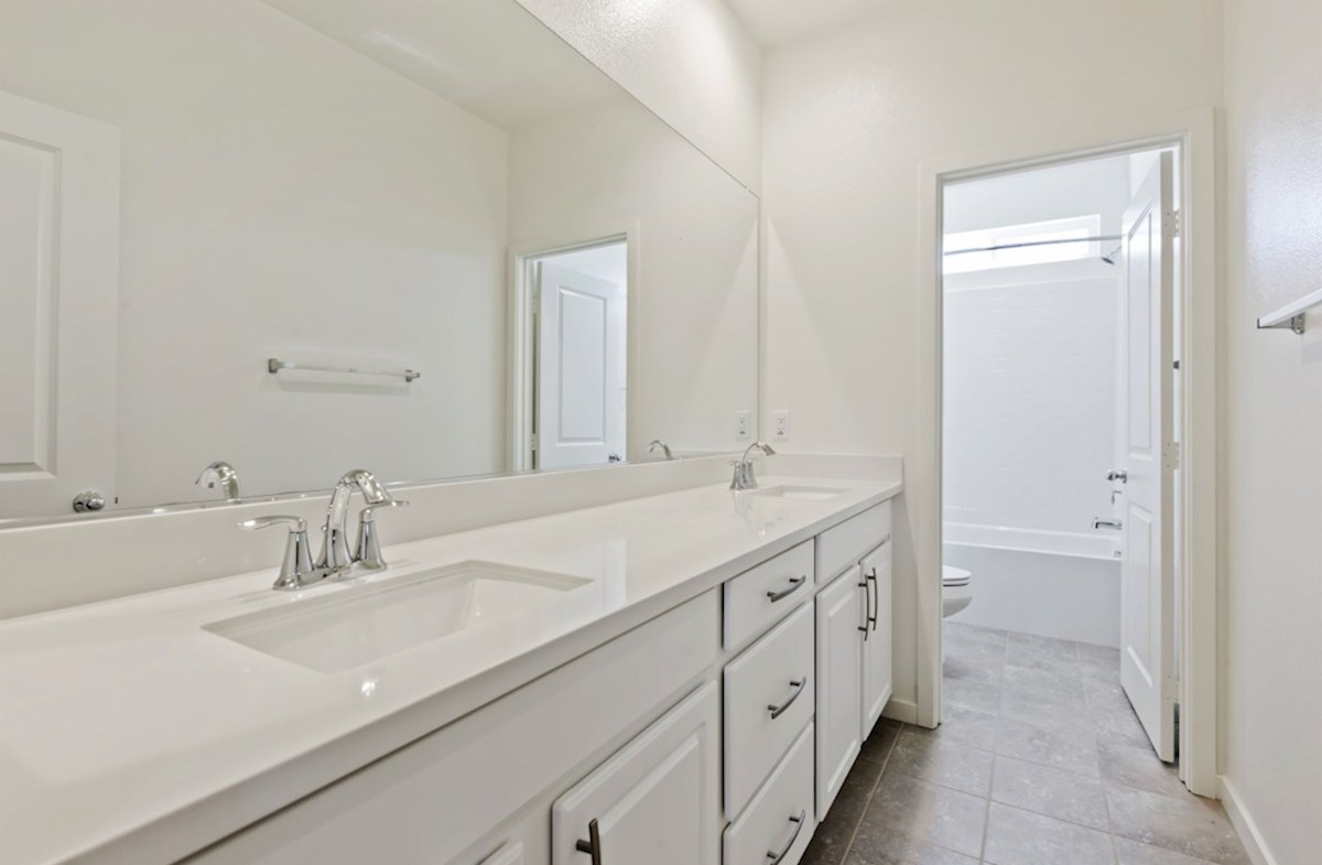 Reserve quick move-in Secondary bathrooms with abundant cabinet space