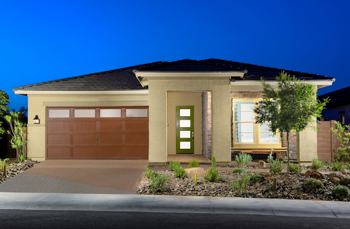 Camelback exterior with two-car garage