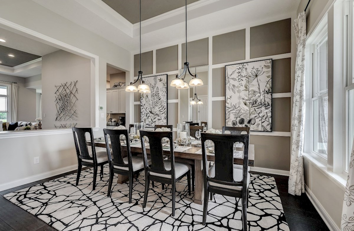 Hampshire Meridian Collection Delaware formal dining room with built in book shelves